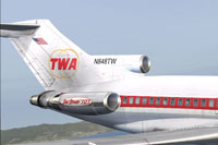 Screenshot of TWA Boeing 727-100 tail and engine decal.