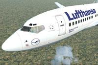 "Screenshot of Lufthansa ""Xanten"" Boeing 737-700 in flight."