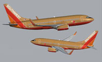 Image showing Southwest Airlines Boeing from two different angles.