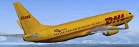Screenshot of DHL Boeing 737-800 in flight.