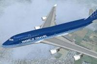 Screenshot of World Travel Boeing 747-400ER in flight.