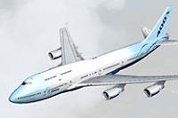 Screenshot of Ansett Australia Boeing 747-412 in flight.