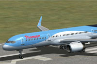 Screenshot of Thomson Boeing 757-200 on runway.