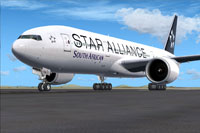 Screenshot of South African Boeing 777-200LR in Star Alliance livery.