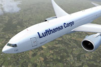 Screenshot of Lufthansa Cargo Boeing 777-FBT in flight.