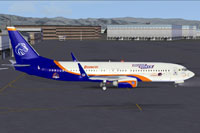 Screenshot of Boise State Broncos Boeing 737-800 on the ground.
