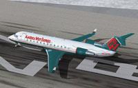 Screenshot of Bombardier CRJ 200 on runway.