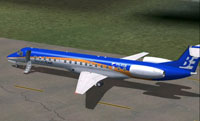 Screenshot of Bonair Embraer ERJ-145 on runway.