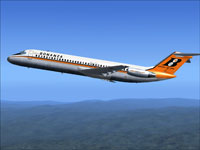Screenshot of Bonanza Airlines DC-9-30 in flight.