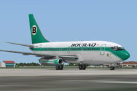 Screenshot of Bouraq Indonesia Airlines Boeing 737-200 on the ground.