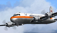 Screenshot of Braathens Douglas DC-4 Freighter in flight.