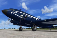 Screenshot of Braddick DC-3TP/C-47TP Turbo Dakota on the ground.