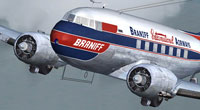Close up of Braniff Airways Douglas DC-3 in the air.