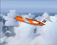 Screenshot of Braniff BAC One-Eleven 200 in the air.
