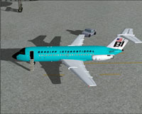 Screenshot of Braniff BAC One-Eleven 200 on the ground.