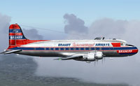 Screenshot of Braniff Douglas DC-4 in flight.