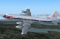 Screenshot of Braniff International Airways L188 in flight.