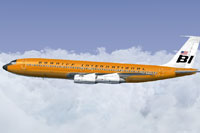 Screenshot of Braniff Orange Jellybean Boeing 707 in flight.