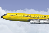 Screenshot of Braniff Panagra Yellow Jellybean Boeing 707 in flight.