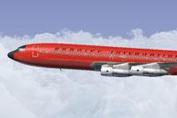 Screenshot of Braniff Red Jellybean Boeing 707 in flight.