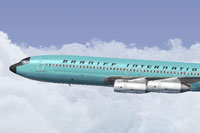 Screenshot of Braniff Turquoise Jellybean Boeing 707 in flight.