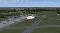 Screenshot of plane flying over Bristol International Airport.