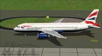 Screenshot of British Airways Airbus A320-200 taxiing to runway.