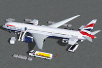 Screenshot of British Airways Boeing 787-9 with ground services.