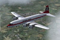 Screenshot of British Eagle Douglas DC-6A in flight.