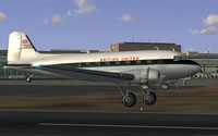 Screenshot of British United Douglas DC-3 taking off from runway.