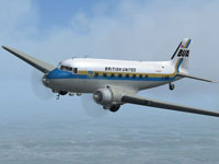 Screenshot of British United Island Airways DC-3 in flight.