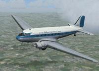 Screenshot of British Westpoint Airlines DC-3 in flight.
