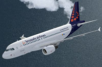 Screenshot of Brussels Airlines A319 in flight.