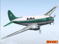 Screenshot of Buffalo Air Cargo Curtiss C-46A in flight.
