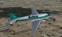 Screenshot of Buffalo Airways Douglas DC-3 in flight.