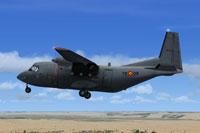 Screenshot of C212 Aviocar 72-09 on landing approach.