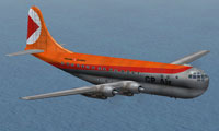 Screenshot of CP Air Boeing 377 Stratocruiser in flight.