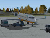Screenshot of CRJ-700 shown with ground services.
