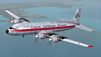 Screenshot of Caicos Caribbean Airways Douglas in flight.