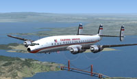 Screenshot of California Hawaiian Super Constellation in flight.