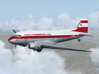 Screenshot of Cambrian Airways Douglas DC-3 in flight.