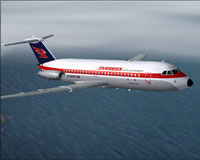 Screenshot of CambrianBritsh Air BAC One-Eleven in flight.
