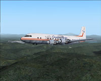 Screenshot of Canadian Pacific Airlines DC-6B in flight.