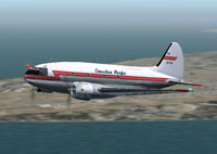 Screenshot of Canadian Pacific C-46F Commando in the air.