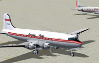Screenshot of Canadian Pacific Douglas DC-4 on the ground.