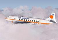 Screenshot of Canarias Vickers Viscount 806 in flight.