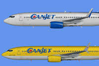 Profile view of two Canjet Airliners, one in silver and one in yellow.