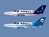 Cape Air (top) and Nantucket Airlines (bottom) Cessna 402C liveries.