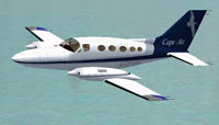 Screenshot of Cape Cod Cessna 414A in flight.