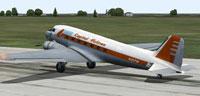 Screenshot of Capital Airlines Douglas DC-3 on runway.